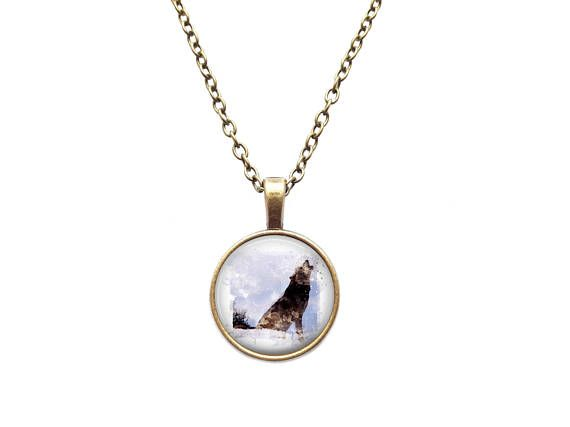 Howling wolf necklace Watercolor animal charm Forest pendant