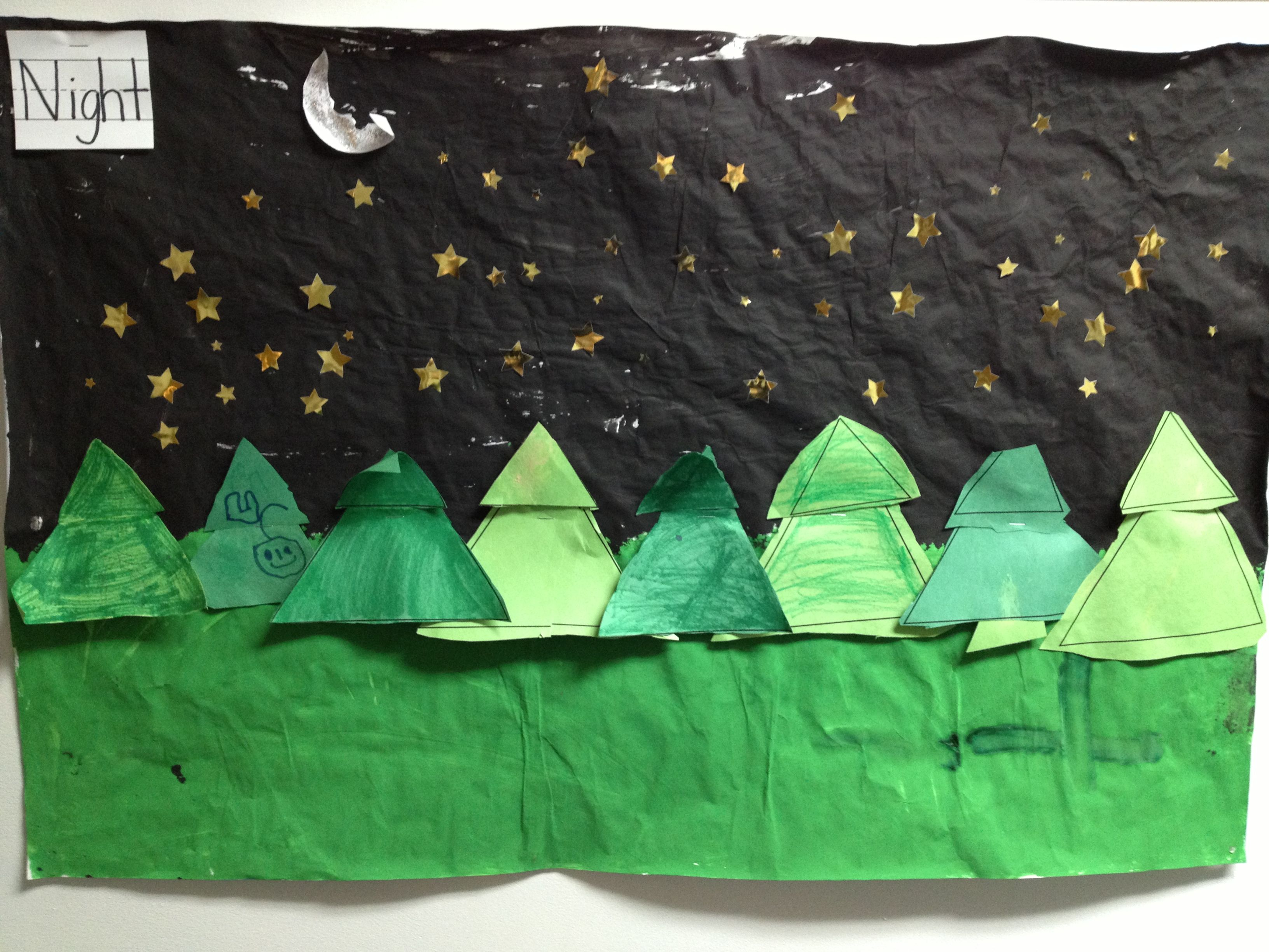 Classroom Collaborative Art Project A Night Time Forest