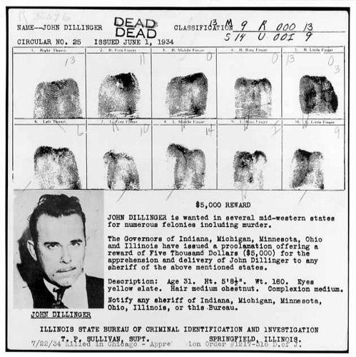 JOHN DILLINGER WANTED POSTER John Dillinger Pinterest Αφίσα - criminal wanted poster
