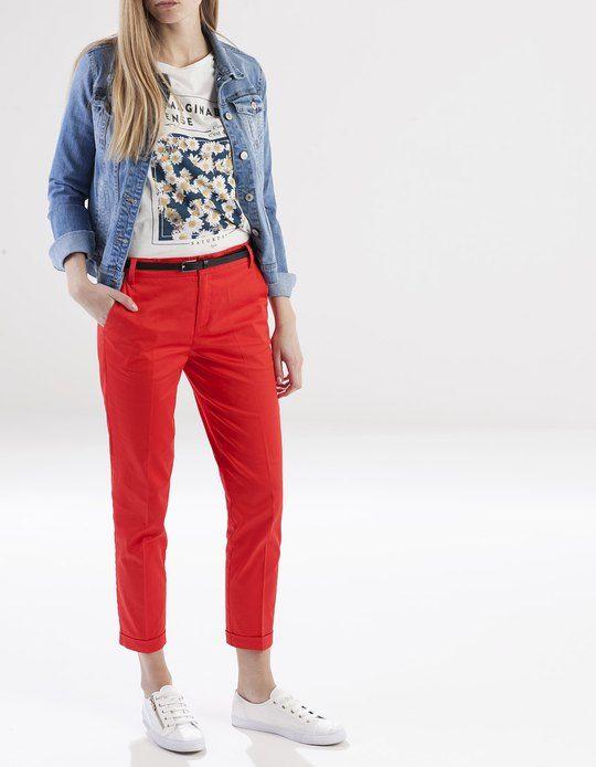 Pantalon Saten Con Cinturon Pantalones Stradivarius Espana Outfit Pantalon Rojo Mujer Pantalon Rojo Mujer Outfit Pantalon Rojo