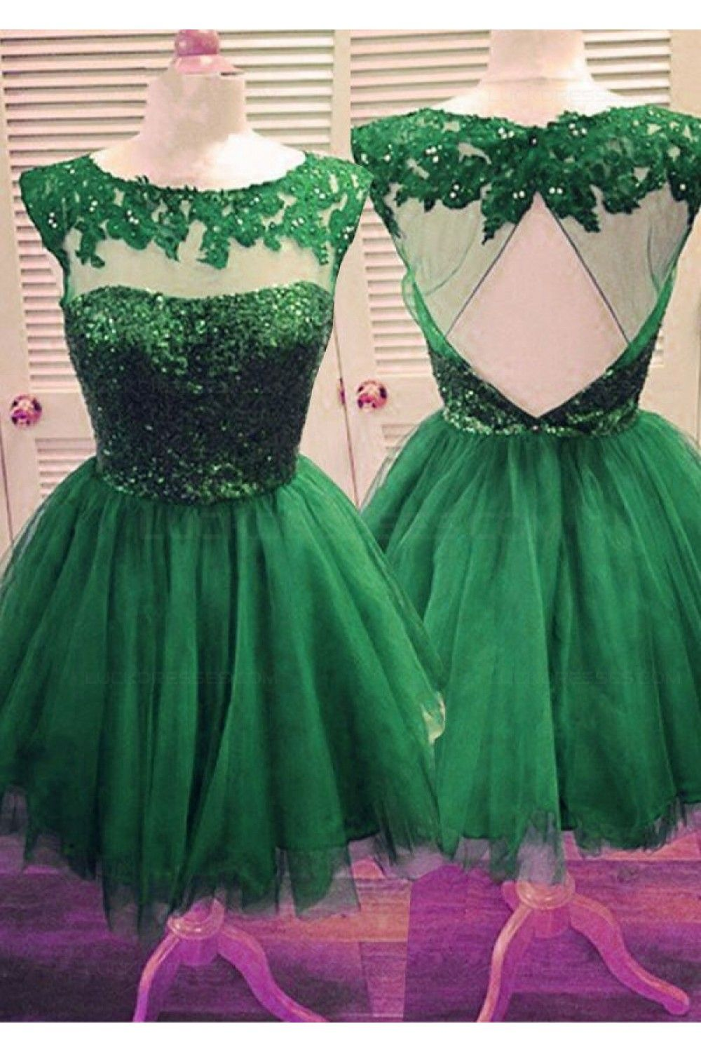 Short green sequins lace appliques prom evening homecoming cocktail