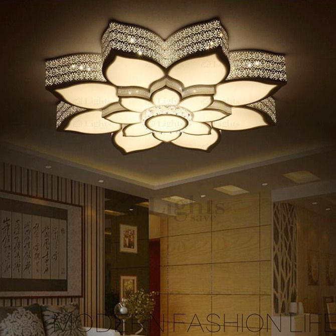 Simple Lotus Shaped Wrought Iron Ceiling Light Fixtures Led