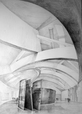 Klara Ostaniewicz - rysunki: Gehry w Bilbao