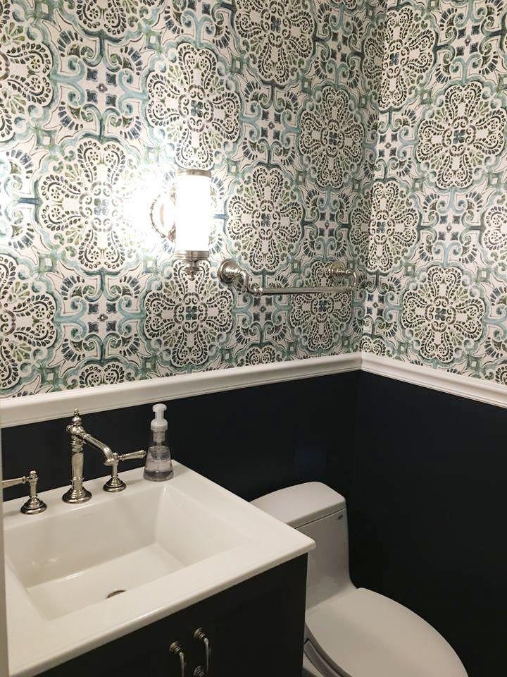 Powder Room Design By Kenneth Ludwig Florentine Tile Wallpaper