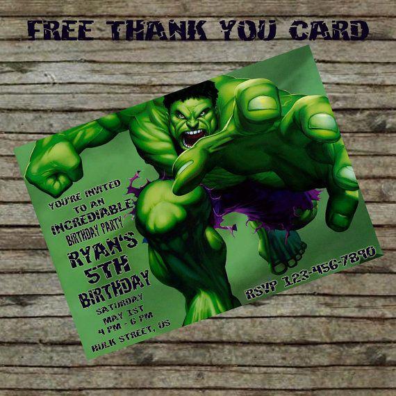 Incredible Hulk Birthday Invitation DIY Custom Order