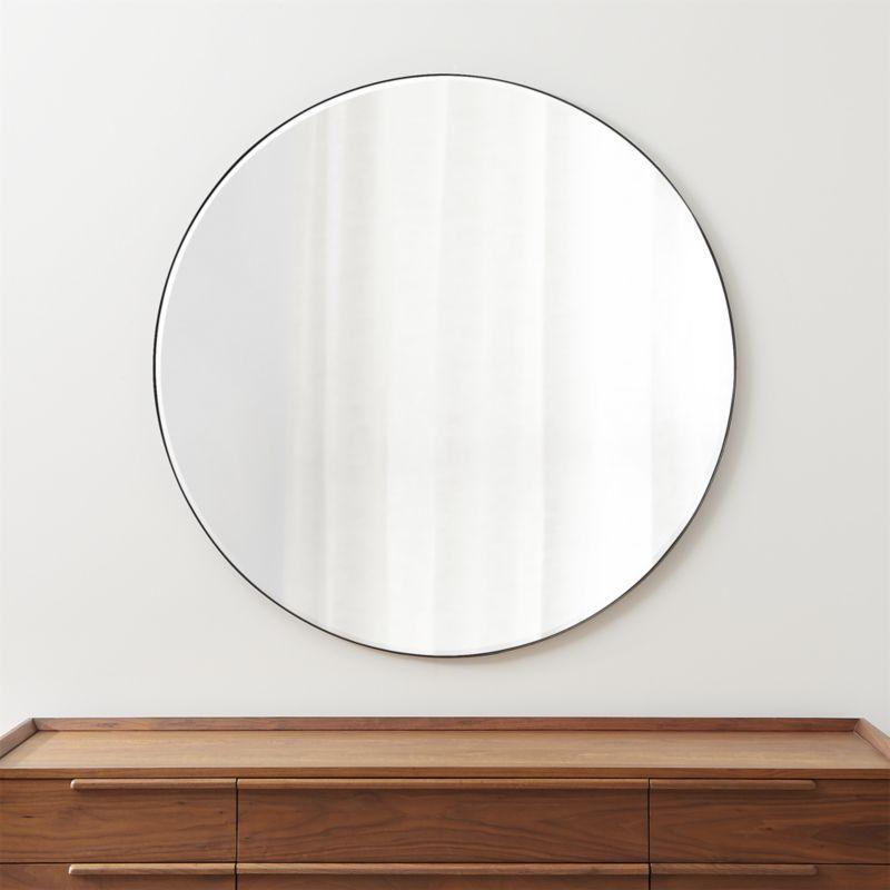 Elegant Lighting Mr4047bk Black Eternity 48 Diameter Circular Beveled Metal Framed Bathroom Mirror Elegant Lighting Framed Mirror Wall Black Round Mirror