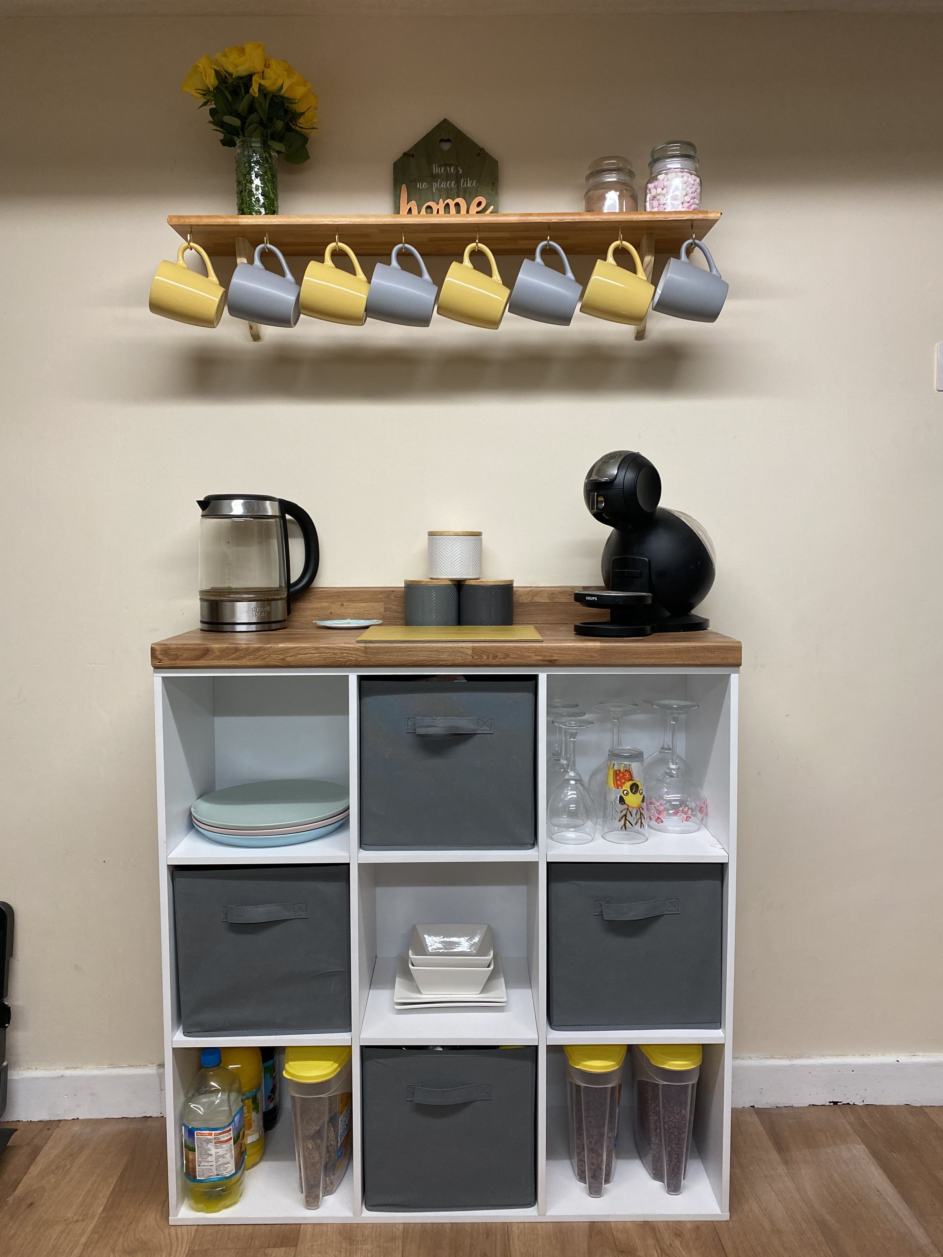 We made a coffee bar out of a cube unit, worktops and a