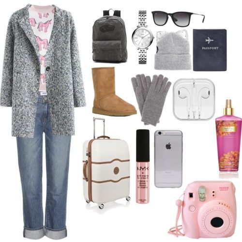 CGK-HKG-PEK-PVG-HKG-CGK by isnaniarana on Polyvore featuring polyvore fashion style Au Jour Le Jour Paige Denim UGG Australia FOSSIL Vans Delsey Loro Piana Ray-Ban Silver Spoon Attire NYX Victoria's Secret