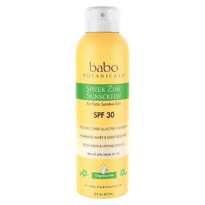 Babo Botanicals Sheer Zinc Sunscreen Spray Fragrance Spf 30 6 0oz Babo Botanicals Zinc Sunscreen Organic Sunscreen