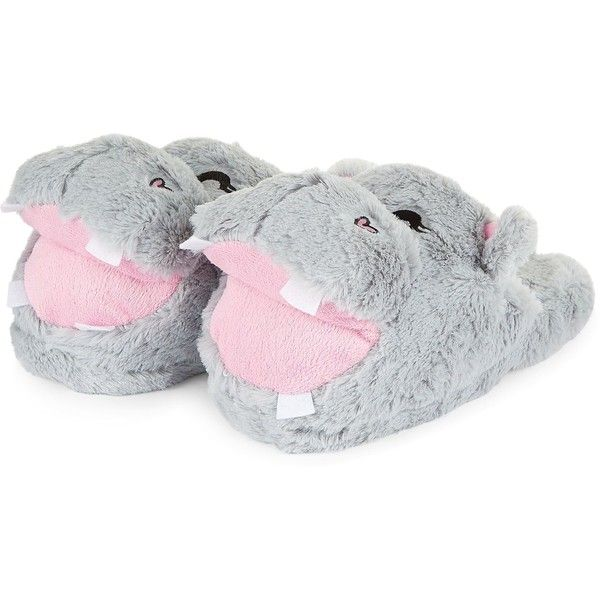 1eb19070aa4 Teens Grey Faux Fur Hippo Slippers ( 50) ❤ liked on Polyvore featuring shoes