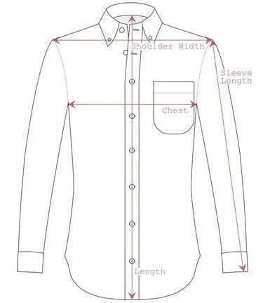 Measurement Guideline For A Dress Shirt Mens Shirt Dress Mens Shirt Pattern Long Sleeve Tshirt Men