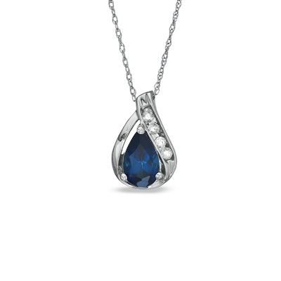 Pear shaped lab created blue and white sapphire pendant in 10k pear shaped lab created blue and white sapphire pendant in 10k white gold aloadofball Image collections