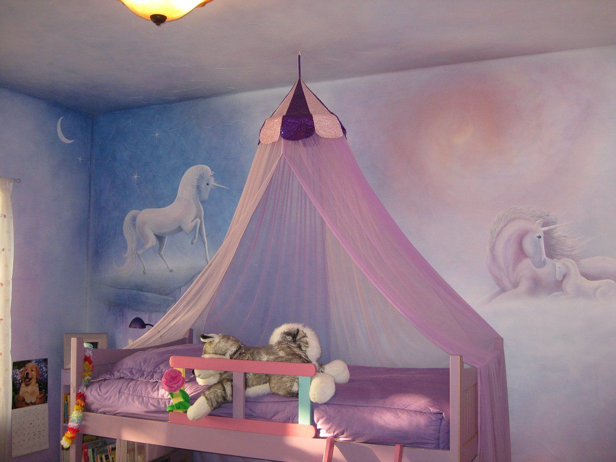 Unicorn Mural In A Little Girl's Bedroom.