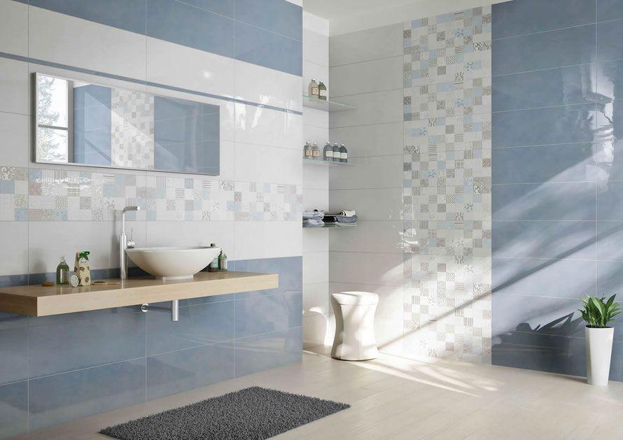 Rivestimento bagno serie design colore bianco e celeste - Finto mosaico bagno ...