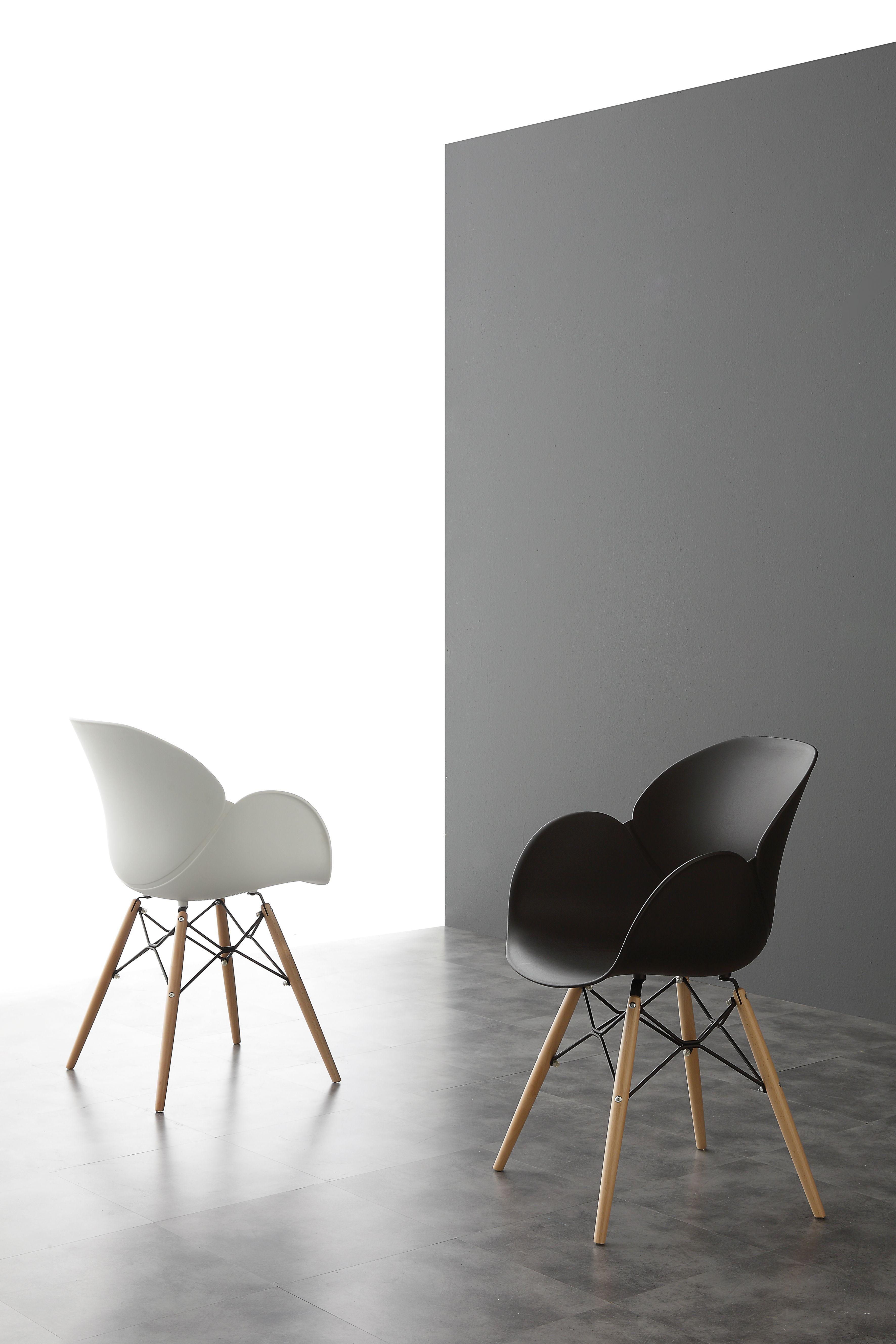 Sedie moderne con gambe in legno massello di faggio tinto for Sedie design legno naturale