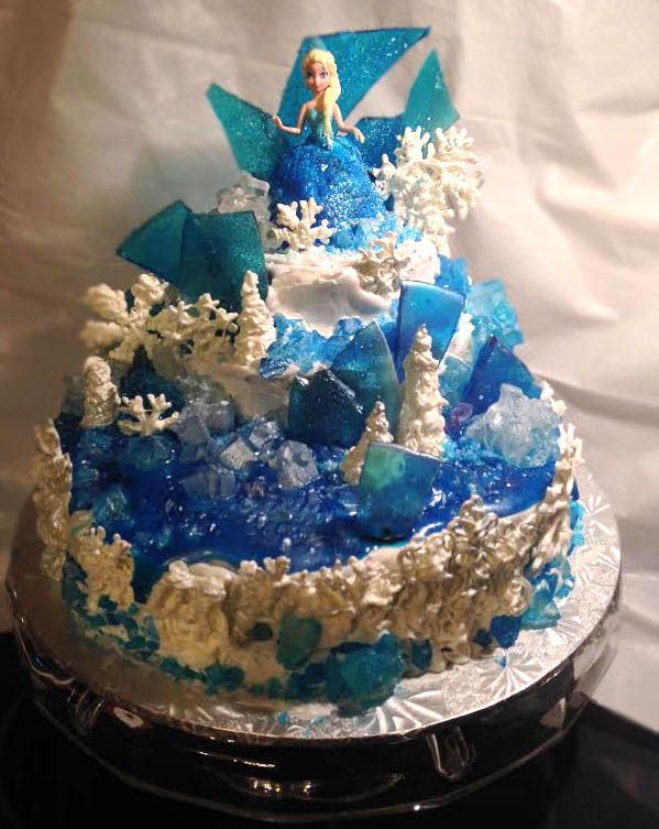 Frozen Elsa birthday cake blue glimmer glaze rock candy homemade