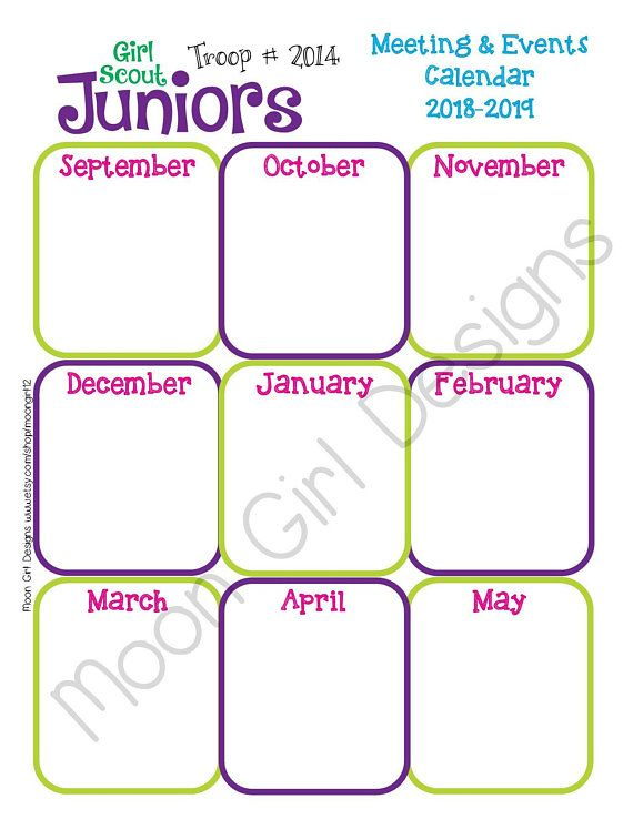 Junior Yearly Calendar Girl Scouts Editable Printable PDF Template