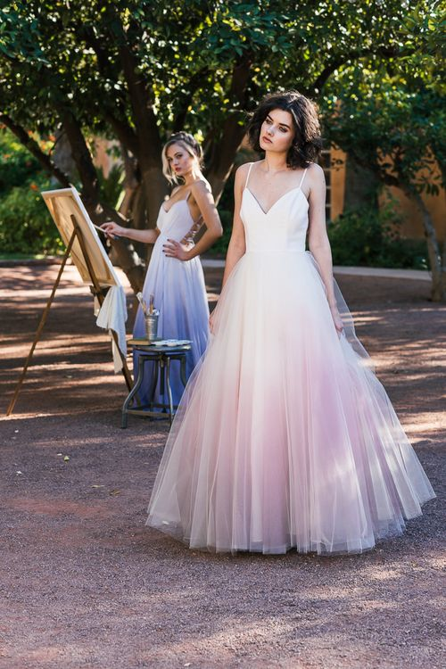 Cleo And Clementine Ombre Dip Dyed Tulle Ballgown Wedding Dress Sunset More