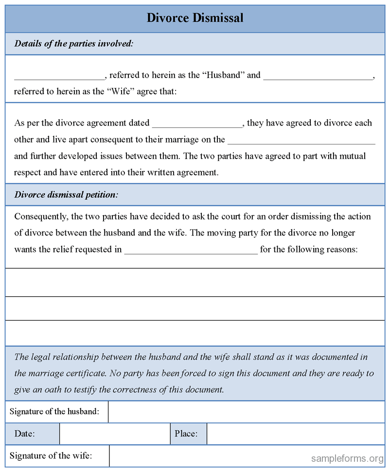 Printable Sample Divorce Template Form  Example Of Divorce Papers