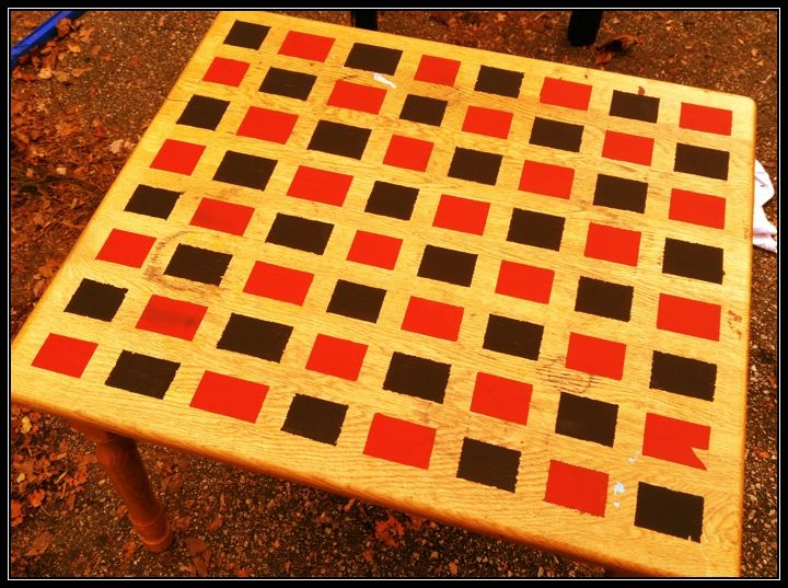 Checkerboard table.