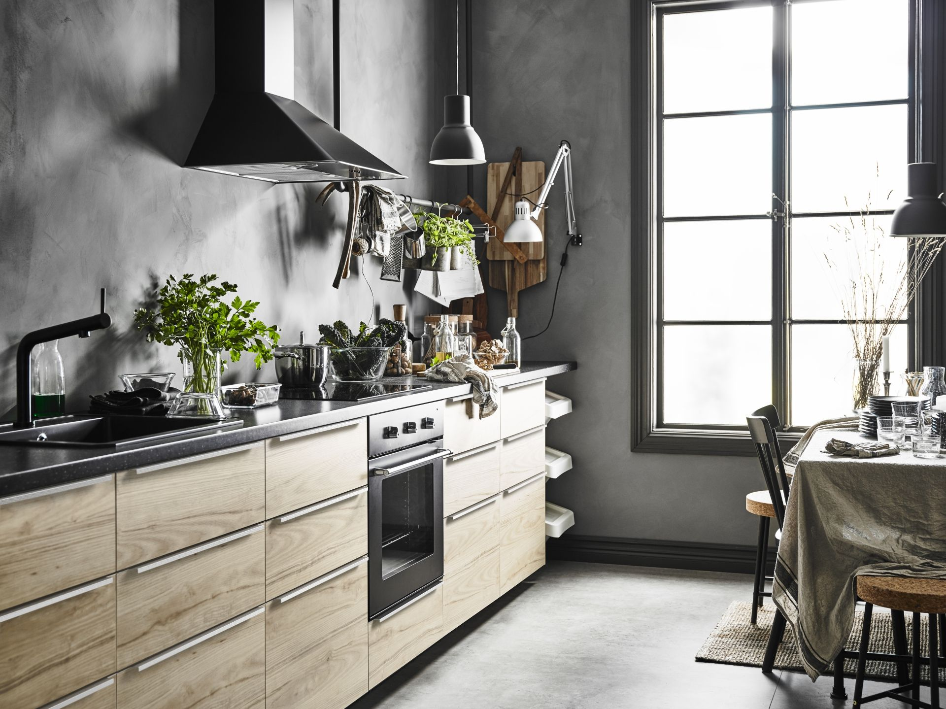 gray floor kitchen