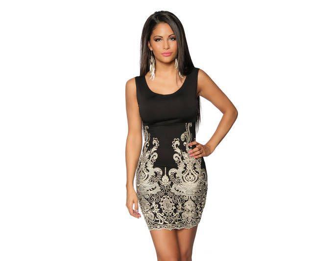 Sexy Etui-Kleid mit Spitze in schwarz/gold Jetzt bestellen unter ...