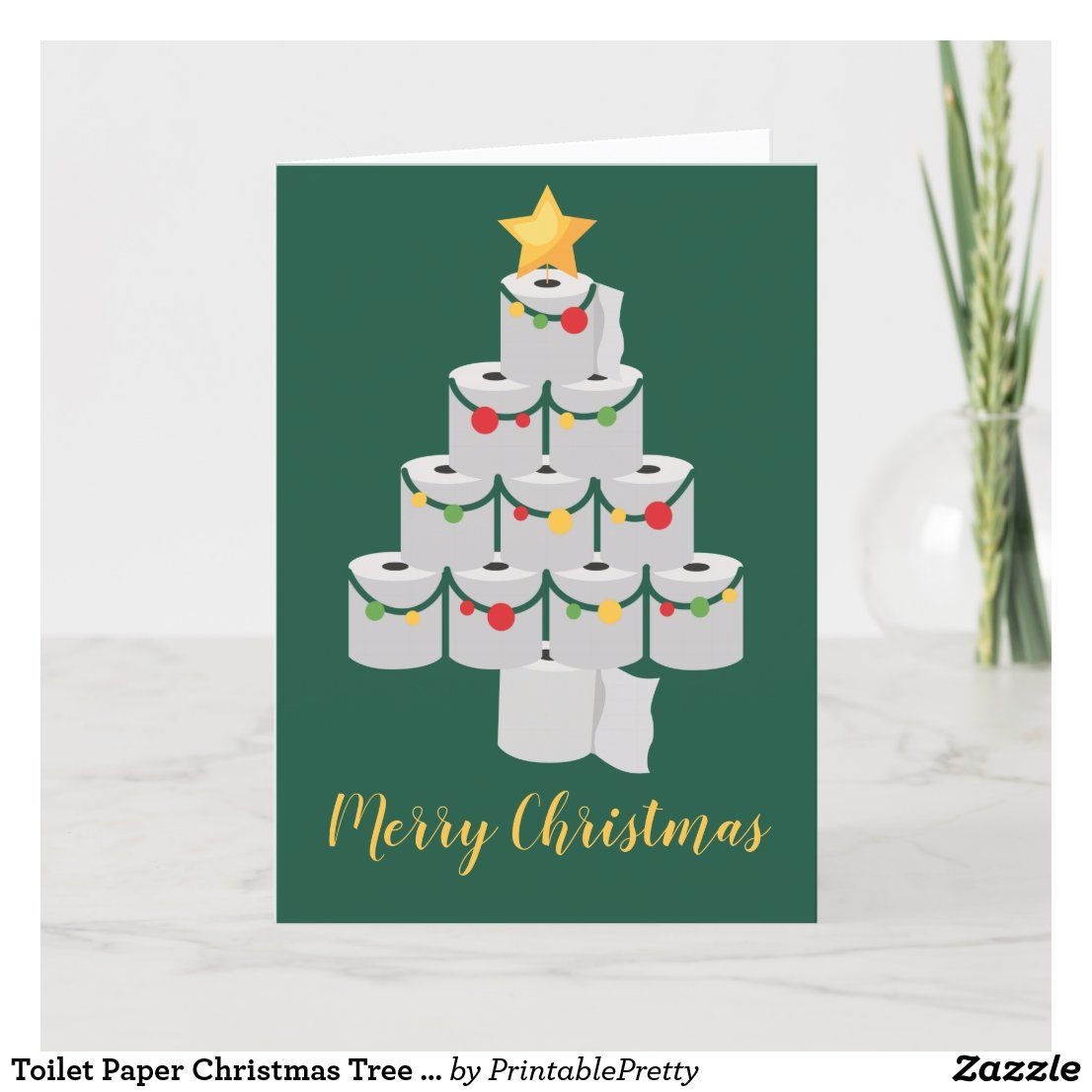 Toilet Paper Christmas Tree Funny 2020 Holiday Card Zazzle Com In 2020 Paper Christmas Tree Holiday Design Card Holiday Cards