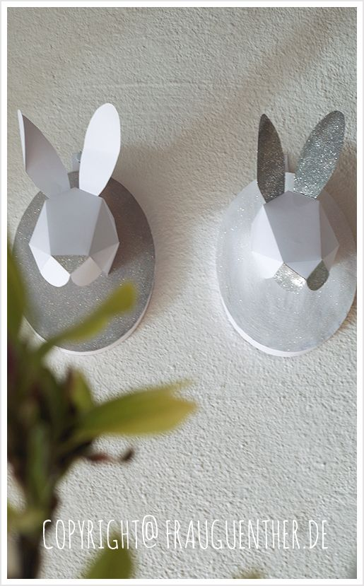 diy anleitung hasen troph e aus papier zu ostern instructions for easter bunny trophy made of. Black Bedroom Furniture Sets. Home Design Ideas