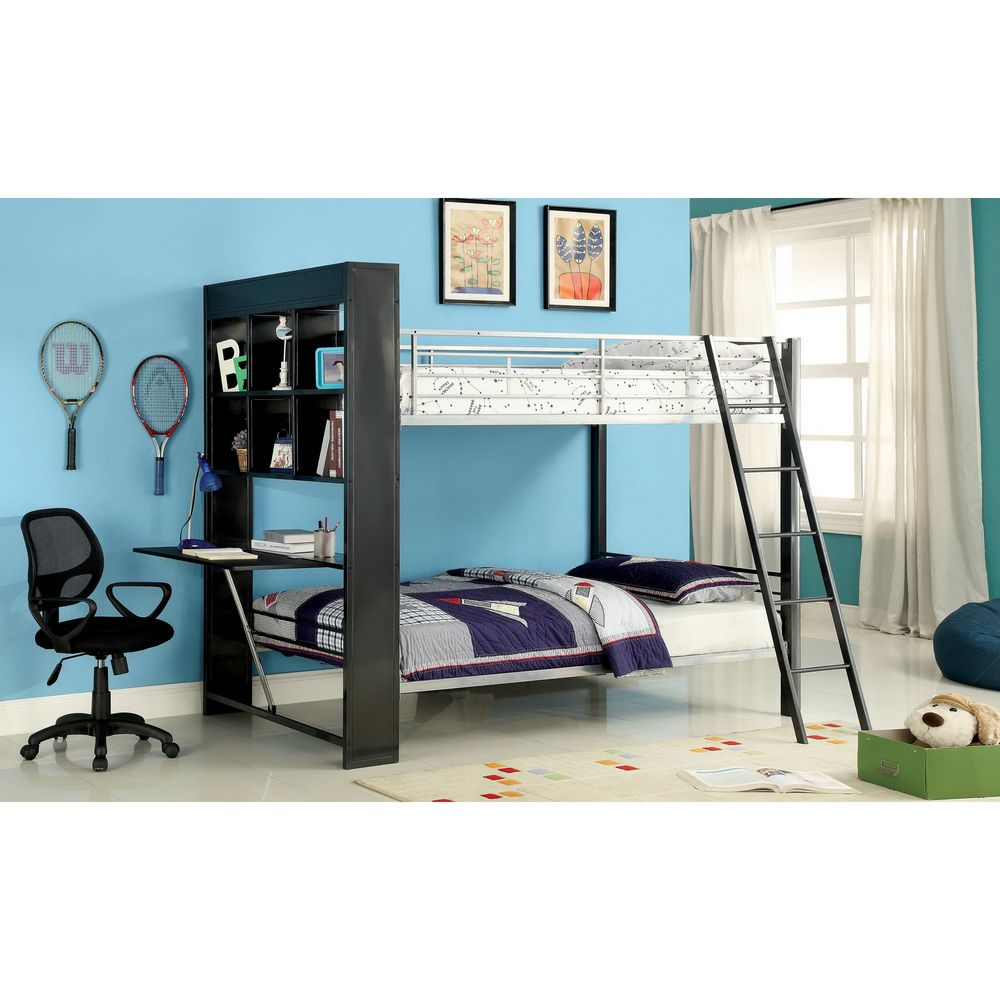 Loft bed with desk blue  Buddy Twinovertwin Bunk Bed with Attached Bookshelf  Overstock