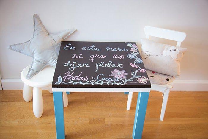 Tunear mesa lack con pintura de pizarra d a del ni o - Pizarra de pared ikea ...