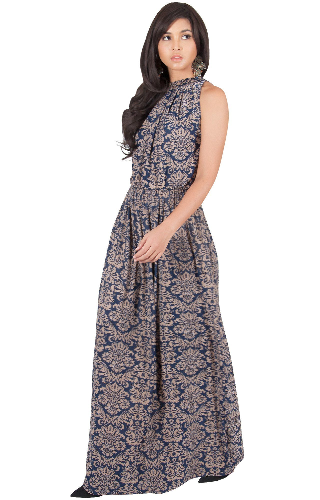 8246249cb8 Women Maternity Clothes - KOH KOH Womens Long Sexy Sleeveless Halter Neck  Summer Spring Formal Flowy