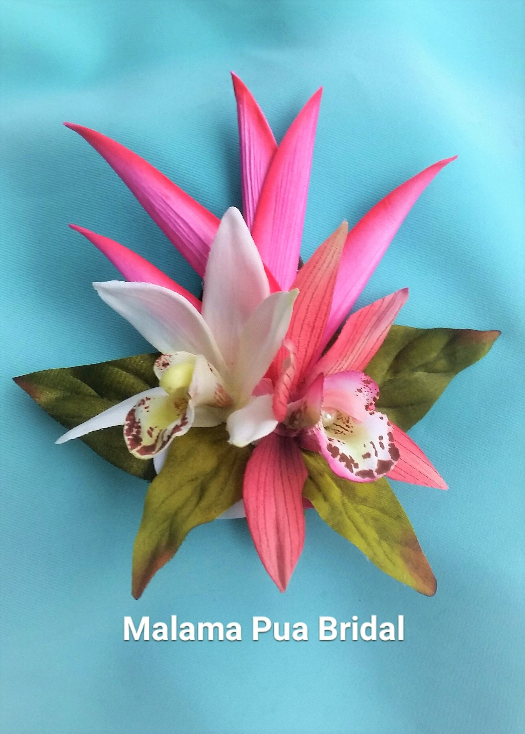 Hawaiian Hair Flower Hair Accessory Bridal Silk Flower Hair Clip Wedding Headpiece Tropical Hair Piece Beach Fascinator Silk Orchid Flowers In Hair Bridal Hair Flowers Silk Orchids