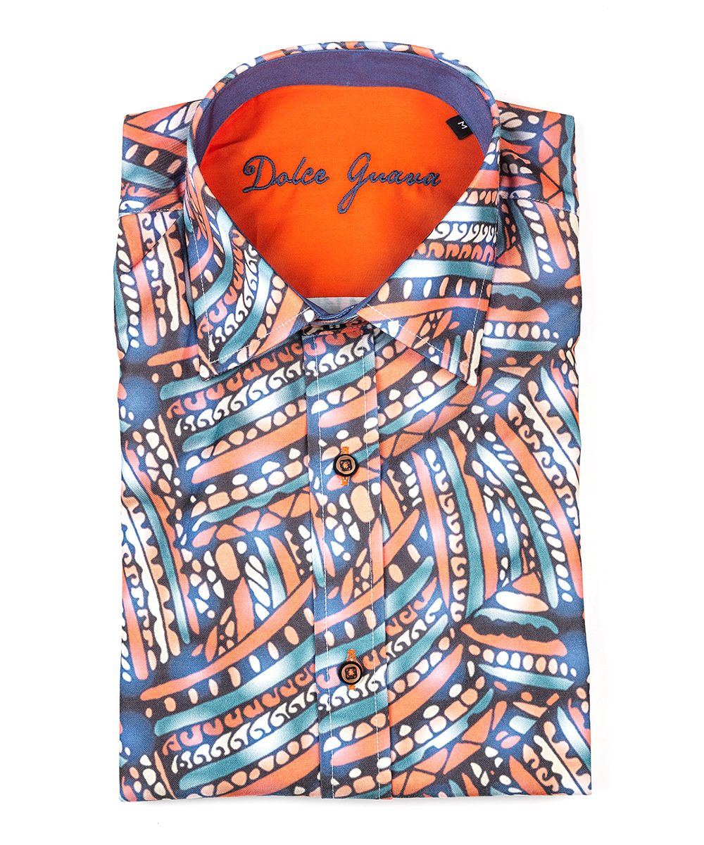 Orange & Blue Geometric Button-Up