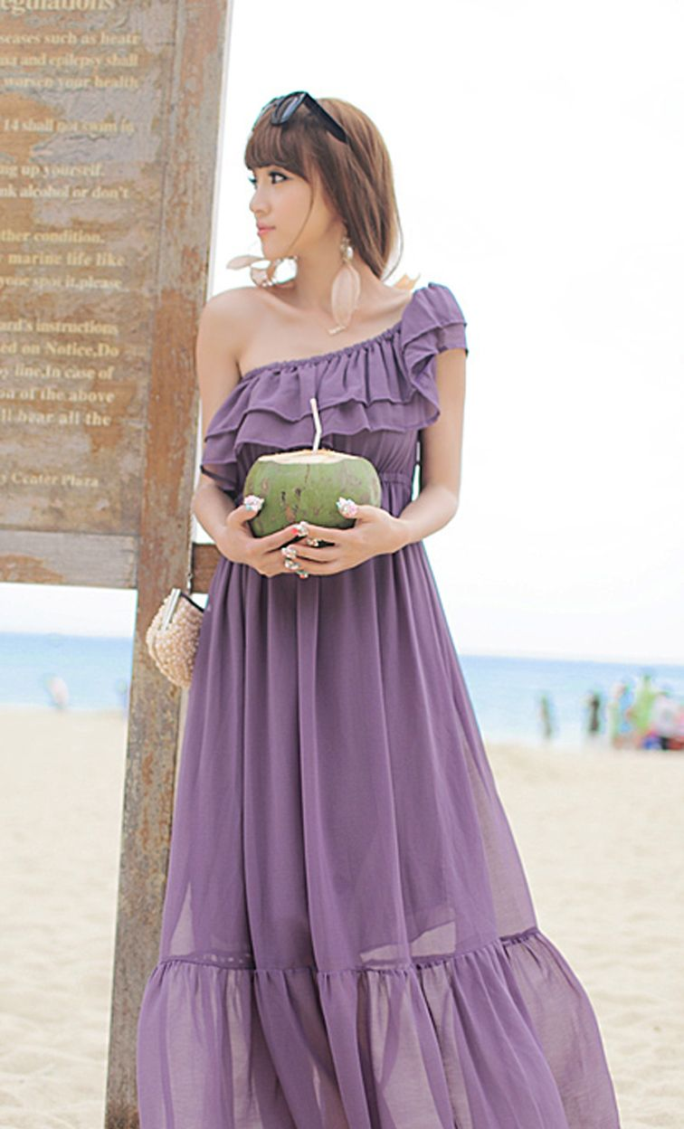 Fabulous Summer. Purple Chiffon Maxi Dress. Bohemian Ruffles Dress ...
