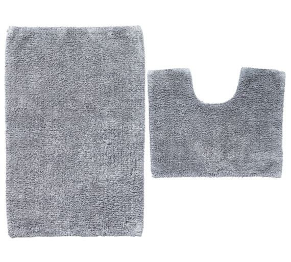 buy colourmatch bath and pedestal mat set flint grey at argoscouk - Grey Bathroom Accessories Uk