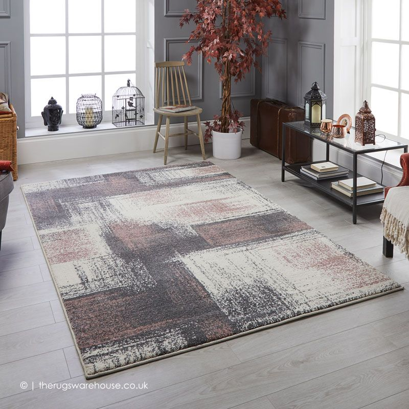 Sansa Abstract Rug Pink Rugs Synthetic