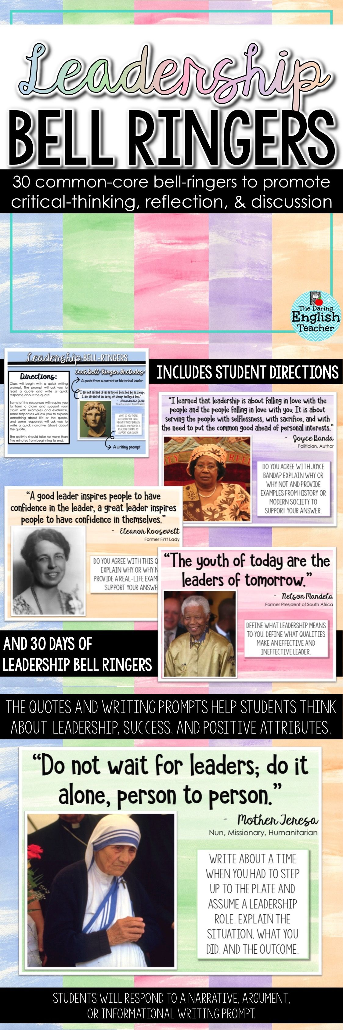 Leadership And Success Bell Ringers By The Daring English
