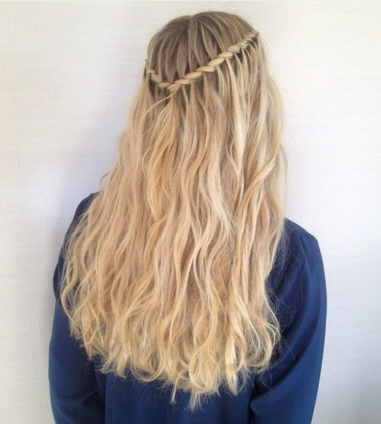 40 Flowing Waterfall Braid Styles Hair Styles Medium Hair Braids Braids With Curls