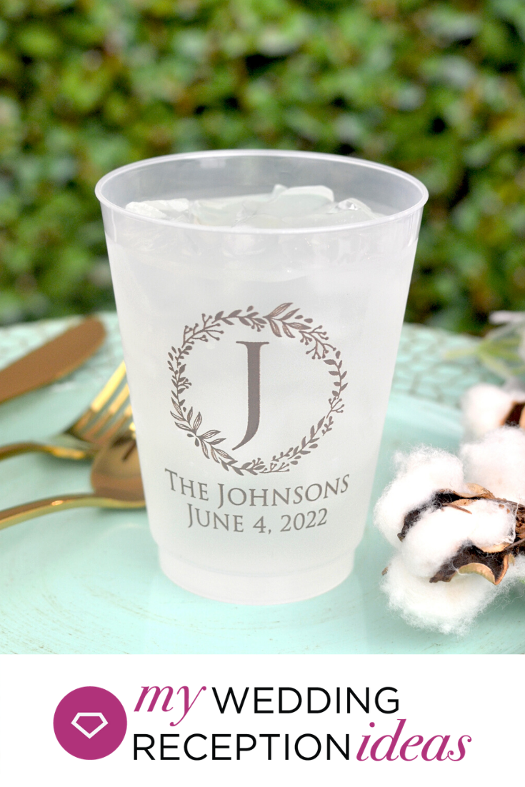 16 Oz Personalized Wreath Initial Frosted Wedding Cups In 2020 Wedding Plastic Cups Wedding Cups Personalized Personalized Plastic Cups Wedding