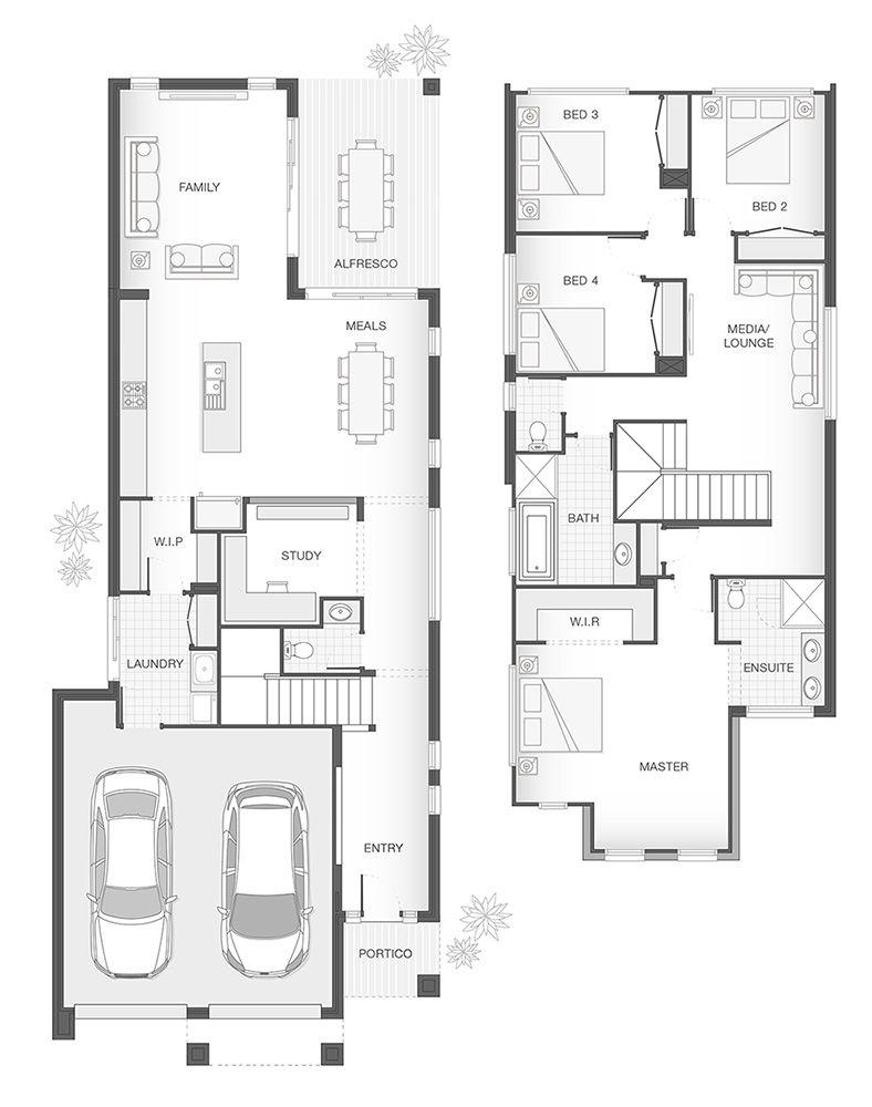 The Carlson Double Storey Home Design Floor Plan 258 5m2 4 Bedrooms 2 5 Bathrooms 2 Car Home Design Floor Plans Restaurant Floor Plan Narrow House Plans