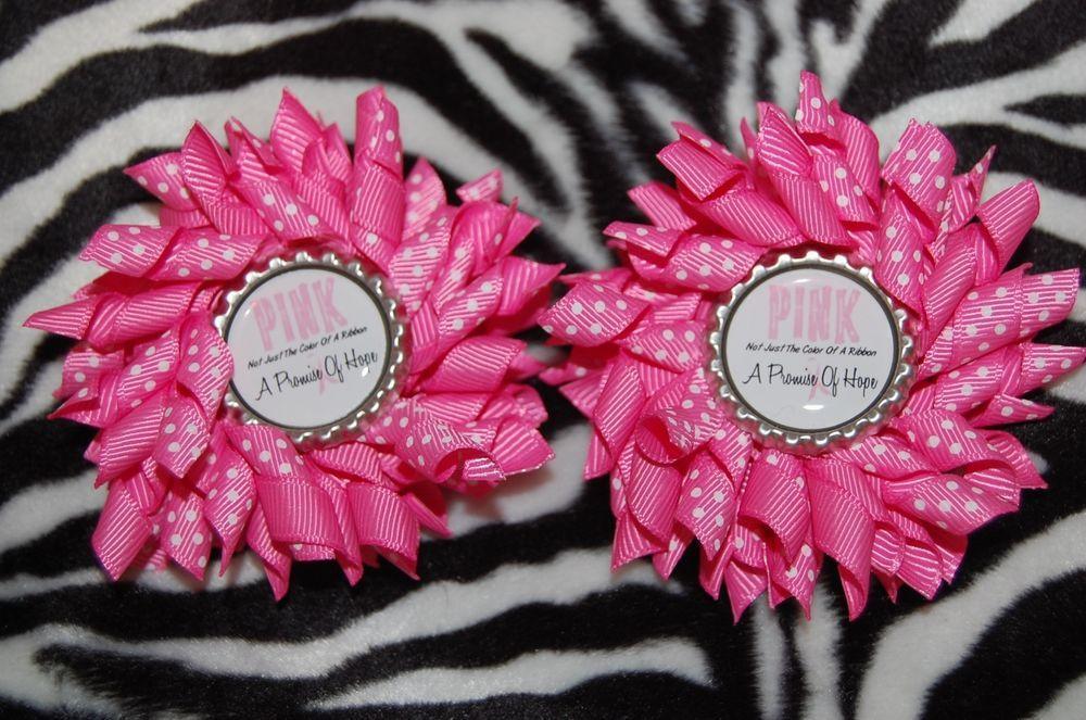 Pink Awareness SET (2) KORKER HAIR BOWS with Alligator Clips #Handmade