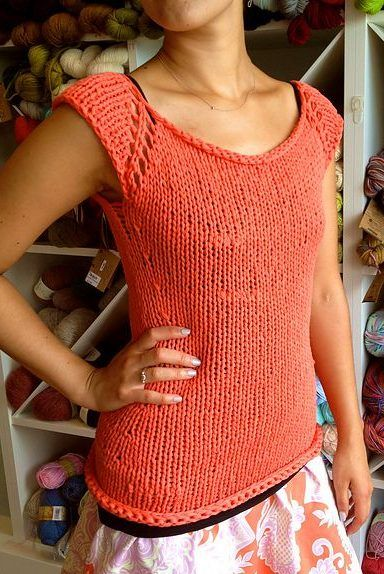 Free Knitting Pattern For Bulky Tank Top Vest Cardigan Tunic