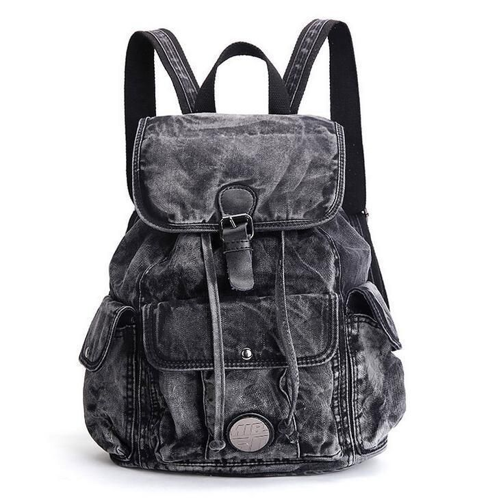 Fashion Denim Backpack Women s Casual Travel Bookbags Shoulder Bag Handbags 373426e33b6f7