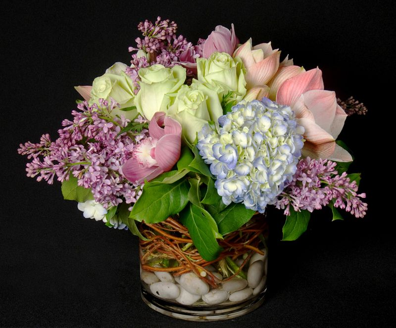 This is a floral arrangement that features roses