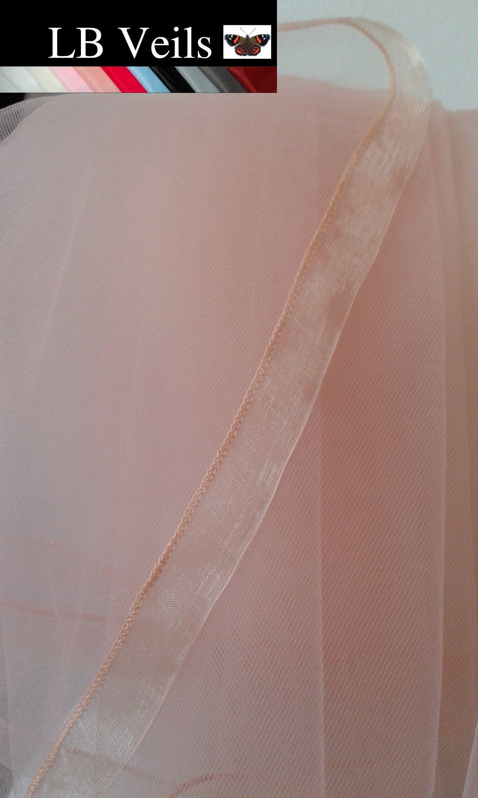 Waist Any Ribbon Veil Fingertip Colour Pink LB Veils LBV184 UK Edge Organza Elbow Length 2 Tier Floor Blush Bridal Wedding