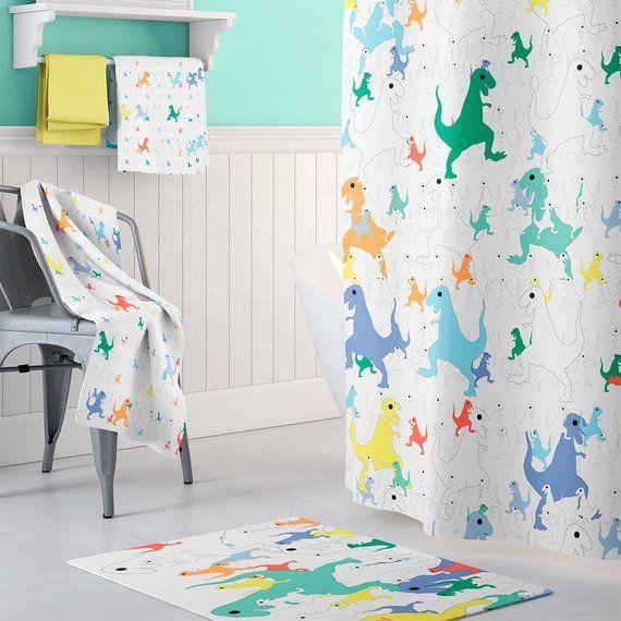 Boys Shower Curtain Dinosaur Decor Little Boy Extra Long Curt