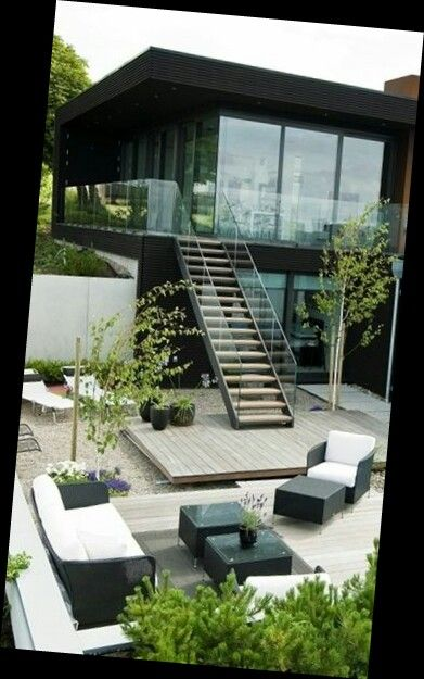 House Backyard With Stairs To 2nd Floor Terrace Modern Beach