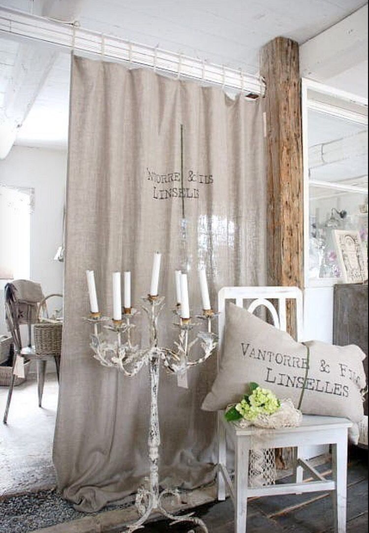 Cortina Saco Decoracion Fabric Room Dividers Shabby Chic Bathroom Home