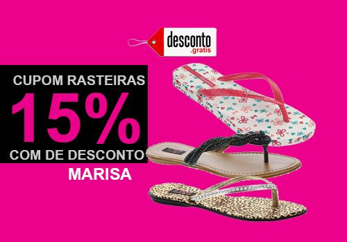 Cupom de desconto Marisa com 15% de desconto em rasteirinhas de grandes  marcas 115606891b5d6