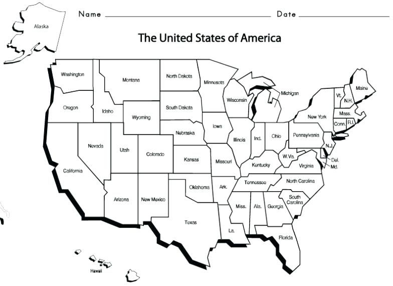 Simple Us Map With States Map Worksheets Us Map With State Names Us States And Capitals